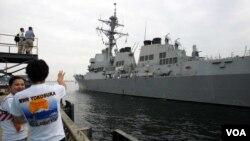 រូបឯកសារ៖ នាវាយោធា USS McCampbell មកដល់មូលដ្ឋានទ័ពជើងទឹក នៅក្រុងតូក្យូ ប្រទេសជប៉ុន កាលពីថ្ងៃទី០៩ ខែកក្កដា ឆ្នាំ២០០៧។