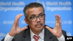 EDITORS NOTE: Graphic content / World Health Organization (WHO) Director-General Tedros Adhanom Ghebreyesus talks during a daily press briefing on COVID-19 virus at the WHO headquaters in Geneva on March 11, 2020. - WHO Director-General Tedros…