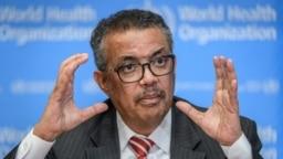 世界卫生组织总干事谭德塞在世卫组织日内瓦总部的记者会上讲话。(2020年3月11日)
