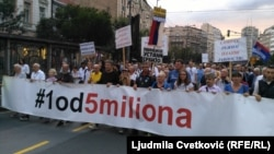 "35. po redu antivladin protest pod nazivom ""1 od 5 miliona"", u Beogradu, 3. avgusta 2019. (Foto: Ljudmila Cvetković, RFE)"