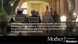 Gambar video Mitt Romney yang disiarkan majalah Mother Jones, yang dianggap menghina warga kelas pekerja di Amerika. (AP/Mother Jones)