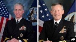 Angkatan Laut AS telah mencabut izin keamanan bagi dua perwira tinggi Angkatan Laut AS: Laksamana Muda Bruce F. Loveless (kiri) dan Laksamana Madya Ted Branch, Jumat (8/11).