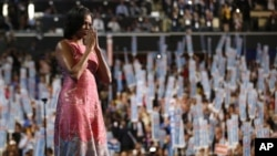 美國第一夫人米歇爾.奧巴馬九月四日在民主黨全國大會發言