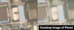 지난달 30일(6/30/2018. 왼쪽)과 지난 20일(7/20/2018) 각각 촬영한 북한 평성 '3월16일' 자동차 공장 위성 사진. 20일 사진에서는 대륙간탄도미사일 조립시설이 사라진 것을 확인할 수 있다. 사진제공=Planet Labs Inc.