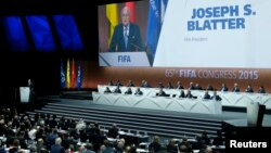 FIFA President Sepp Blatter delivers an opening speech at the 65th FIFA Congress in Zurich, Switzerland, May 29, 2015. ( REUTERS/Ruben Sprich)