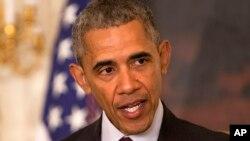 Tổng thống Hoa Kỳ Barack Obama phát biểu trong Phòng ăn của Nhà Trắng ở Washington, thứ Tư, ngày 30 tháng 3 năm 2016.