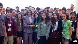 House Speaker Nancy Pelosi greets California students during their trip to Washington, DC.