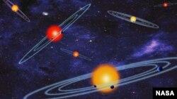 Imagen artística de los sistemas planetarios elaborada por la NASA.