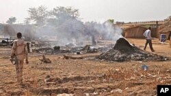 The scene following a bombing by the Sudanese Air Force in Bentiu, South Sudan, April 14, 2012.