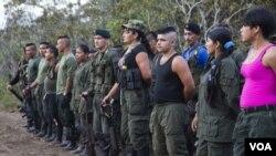 哥伦比亚革命武装力量成员在营地集合(资料照)