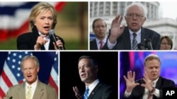 Democratic presidential candidates, clockwise, from top left, former Secretary of State Hillary Clinton, Senator Bernie Sanders, former Senator Jim Webb, former Maryland Governor Martin O'Malley and former Rhode Island Senator Lincoln Chafee.