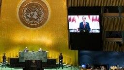 Presiden Joko Widodo memberikan pidato pada sidang Majelis Umum PBB secara virtual, Rabu (22/9).