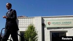 """El presidente Barack Obama declaró como """"monumento histórico"""" el monumento nacional de César Chávez en Keene, California."""