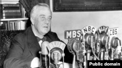 On January 11, 1944, President Franklin D. Roosevelt delivers a State of the Union address. (Courtesy FDR Presidential Library)