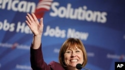 Nevada Republican Senate candidate Sharron Angle speaks at a rally in Las Vegas, 21 Oct 2010