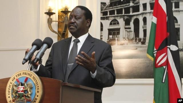 Kenyan Prime Minister Raila Odinga addresses the foreign journalists in Nairobi, Kenya, June 12, 2012.