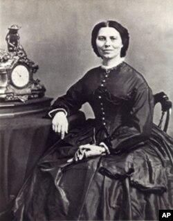 Clara Barton in 1865 in a photo taken by Mathew Brady