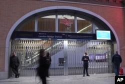 英国首都伦敦桥发生枪击事件后伦敦桥车站关闭。(2019年11月29日)