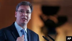 Serbian Prime Minister Aleksandar Vucic speaks during the Business Forum Serbia-Albania, in the town of Nis, Serbia, Oct. 14, 2016.