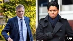 Combinaison de photos montrant le Qatari Nasser Al-Khelaïfi, chef de BeIN Medias et président de Paris Saint-Germain, à droite, à Paris, le 4 mars 2017, et le Français Jérôme Valcke, ancien secrétaire général de la Fifa, à Paris, le 4 mars 2017.
