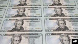 Newly printed $20 bills, with the image of President Andrew Jackson, at the Bureau of Engraving and Printing in Washington