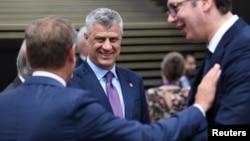 科索沃总统塔奇2018年5月17日在保加利亚索非亚举行的欧盟 - 西巴尔干峰会