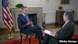 美国总统奥巴马在白宫地图室接受美国之音专访(2011年6月22日)