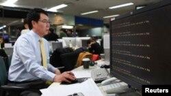 20일 한국 YTN 방송국에서 해킹 공격으로 비정상적인 메시지를 내보내는 컴퓨터 화면. 이 날 주요 방송사와 은행 등의 전산망이 일제히 마비됐다.