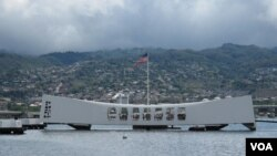 The U.S.S. Arizona Memorial in Pearl Harbor.
