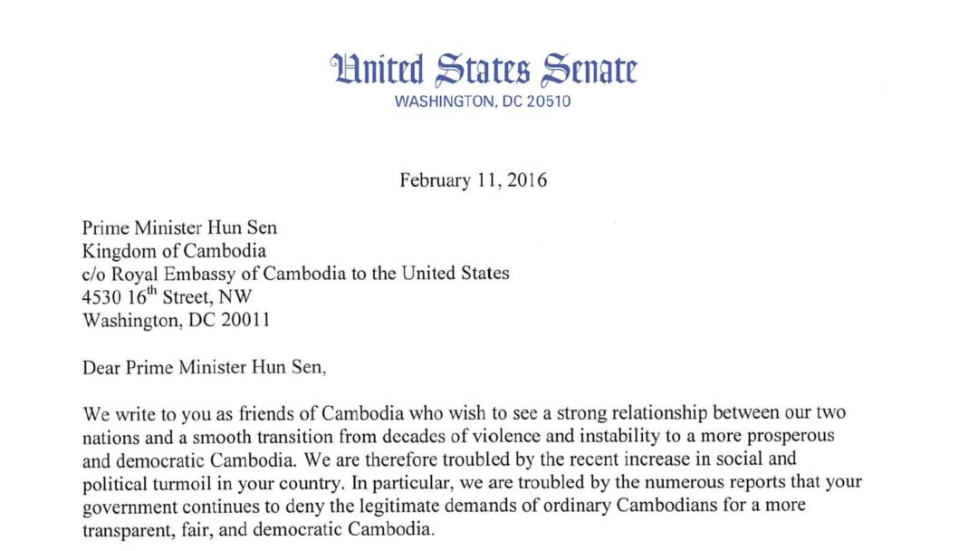A year after letter to hun sen us senator says little sign of a year after letter to hun sen us senator says little sign of progress in cambodia spiritdancerdesigns Gallery