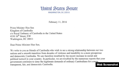 a year after letter to hun sen u s senator says little sign of
