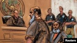阿德爾.阿卜杜勒.巴里在紐約法庭的素描像。