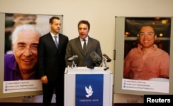 Among the hostages are Baquer Namazi, pictured left, and his son Siamak, right. They were convicted by an Iranian court in 2016 of collaborating with a hostile power.