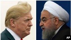 នេះជារូបភាពបញ្ចូលគ្នារវាងលោកប្រធានាធិបតីអាមេរិក ដូណាល់ ត្រាំ (រូបឆ្វេង) ដែលថតកាលពីថ្ងៃទី២២ ខែកក្កដា ឆ្នាំ២០១៨ និងលោកប្រធានាធិបតីអ៊ីរ៉ង់ Hassan Rouhani ដែលថតកាលពីថ្ងៃទី៦ ខែកុម្ភៈ ឆ្នាំ២០១៨។