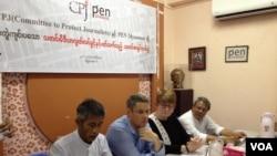 CPJ နဲ႔ Pen Myanmar အဖြဲ႔ ပူးတြဲသတင္းစာရွင္းလင္းပြဲ။