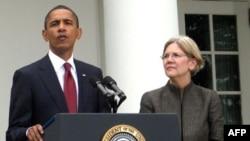 Барак Обама и Элизабет Уоррен в Розовом саду 17 сентября
