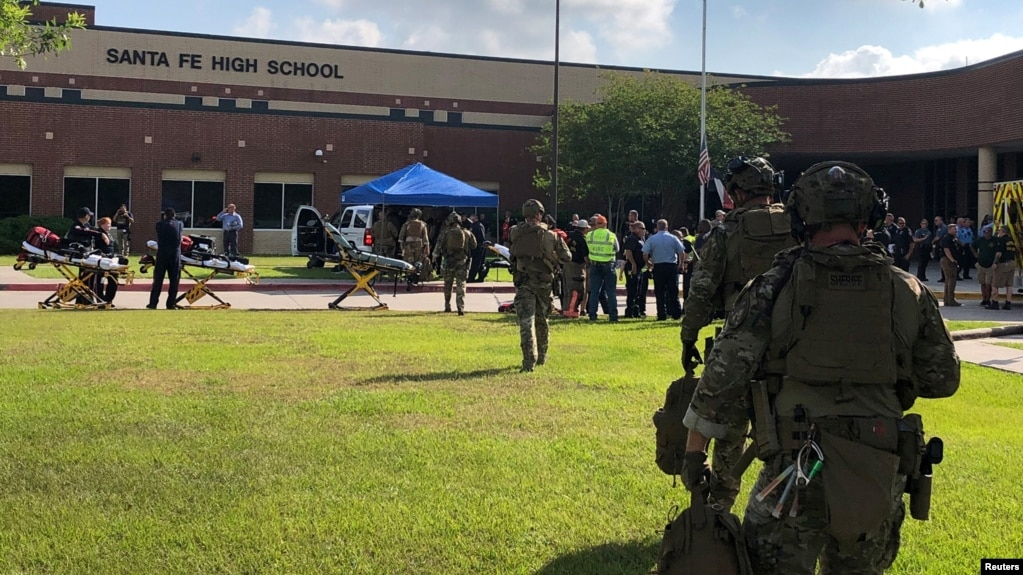 Law enforcement officers respond to Santa Fe (Texas) High School following a shooting in this Harris County Sheriff's Office photo, May 18, 2018.