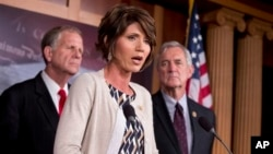 From left, Rep. Ted Poe, R-Texas, Rep. Kristi Noem, R-S.D., Rep. Rick Nolan, D-Minn., announce that bipartisan End Sex Trafficking Act of 2013, Capitol Hill, Aug. 1, 2013.