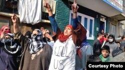 احتجاجی مظاہرے میں شریک کشمیری خواتین