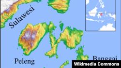 Peta Kabupaten Banggai Laut di Sulawesi Tengah, lokasi terjadinya kecelakaan KM Fungka Permata Lima hari Jumat 14/9 (foto: ilustrasi).