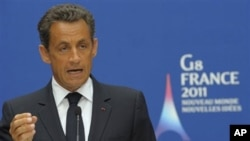 French President Nicolas Sarkozy delivers a speech during an Interior and Justice Ministers of the G8 meeting on the fight against transatlantic cocaine trafficking, at the Elysee Palace in Paris, May 9, 2011.
