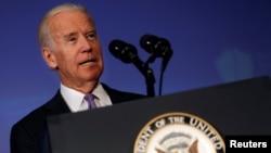 20일 조 바이든 미국 부통령이 워싱턴의 뉴아메리칸 안보 연구소에서 연설하고 있다.