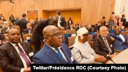 Président Félix Tshisekedi (1e R, G) pene na mokokani wa ye ya Ibrahim Boubacar Keïta ya Mali na bakonzi basusu na bokutani Amazonie, na New York, 23 septembre 2019. (Twitter/Présidecence RDC)
