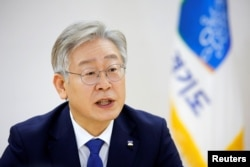 FILE - Gyeonggi Province Governor Lee Jae-myung speaks during an interview with Reuters in Suwon, South Korea, Dec. 16, 2020.
