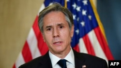 US Secretary of State Antony Blinken addresses the media following the closed-door morning talks between the United States and China upon conclusion of their two-day meetings in Anchorage, Alaska on March 19, 2021.