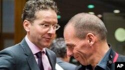Grčki i holandski ministri finansija, Janis Varufakis i Jerun Dejselblum na sastanku u Briselu, 17. februar 2015.