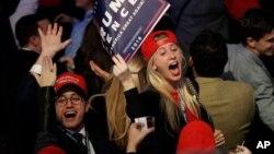 Militants républicains lors de l'élection de Donald Trump, à New York, le 9 novembre 2016.