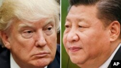 FILE - This combination of file photos shows U.S. President Donald Trump on March 28, 2017, in Washington, left, and Chinese President Xi Jinping on Feb. 22, 2017, in Beijing. Xi and Trump will meet at the latter's Florida resort on April 6-7. It will be the first in-person meeting between the two.