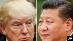 ARSIP – Kombinasi foto-foto arsip ini menunjukkan Presiden AS, Donald Trump tanggal 28 Maret 2017 di Washington, kiri, dan Presiden China, Xi Jinping, tanggal 22 Februari 2017 di Beijing (foto: AP Photo/Arsip)