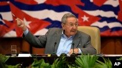 라울 카스트로 국가평의회 의장이 18일 쿠바 아바나에서 열린 제7차 공산당 전당대회에 참석했다.
